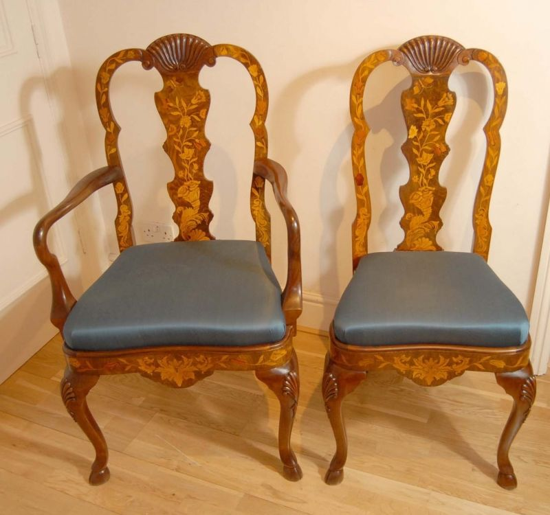 Set 8 English Queen Anne Marquetry Inlay Dining Chairs Dining Chairs Antique Dining Chairs Queen Anne Chair