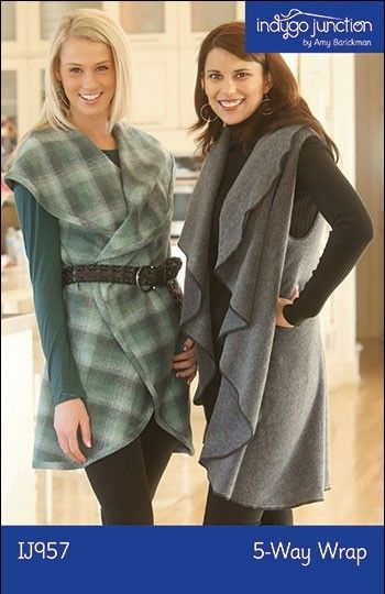 Need a quick and easy project? Indygo Junction's  5-Way Wrap provides five fashionable looks in one quick & easy design. Make from two-sided fabric such as fleece, flannel, batiks, wool or linen. Finish the edges with serging or bias binding. Sizes S/M or L/XL. Instructions for flower pin also included. $11.99