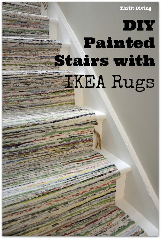 IY Painted Stairs with IKEA Rugs - TANUM Rugs - Thrift