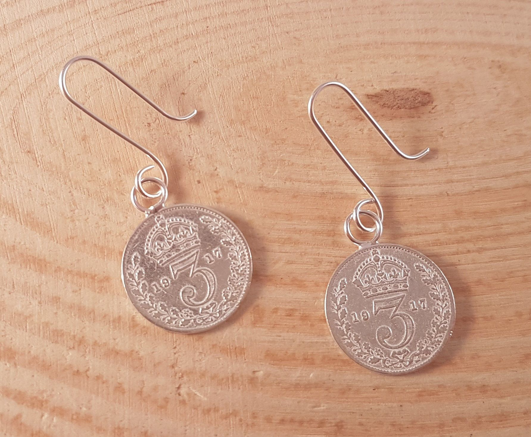 Hand Made Sterling Silver Threepence Drop Dangle Earrings Antique Coin Unusual