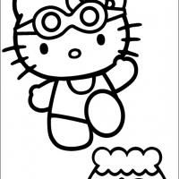 Swimming Hello Kitty Colouring Pages Hello Kitty Coloring Hello Kitty Drawing