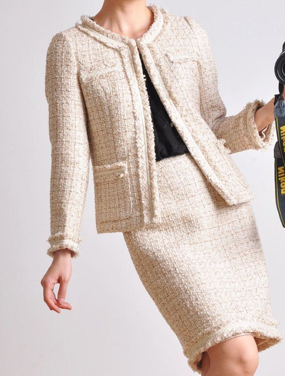 Classic Cream White Wool Tweed Jacket And Skirt Suit Outfit Women On