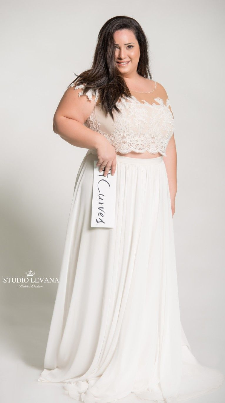 0d00ccfda8 Plus size crop top wedding gown with off shoulder short lace sleeves.  Batel. Studio Levana