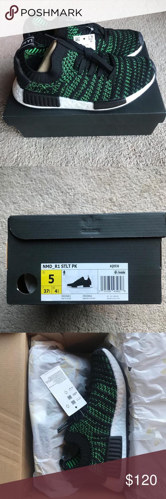 2ef830715 Adidas NMD R1 STLT Primeknit Sneakers Sz 5 Core black