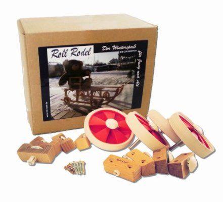 Roll Rodel Bausatz - die Rollen für jeden Rodel - für jeden Holzschlitten geeignet - Schlitten, Rodel, Räder, Rollen
