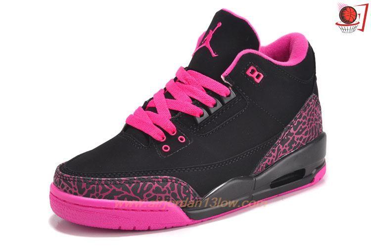 Womens 318376-073 AIR JORDAN 3 RETRO Black/Pink Sale Online