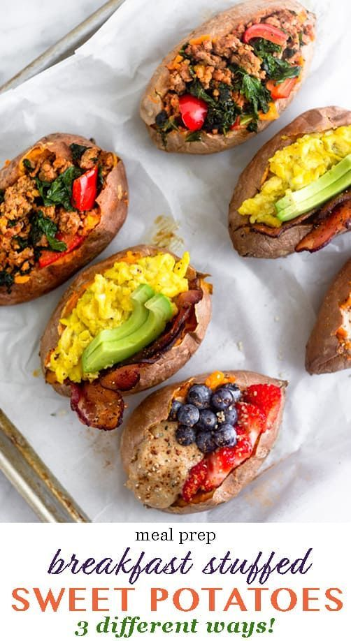 Whole30 Breakfast Stuffed Sweet Potatoes 3 Ways images