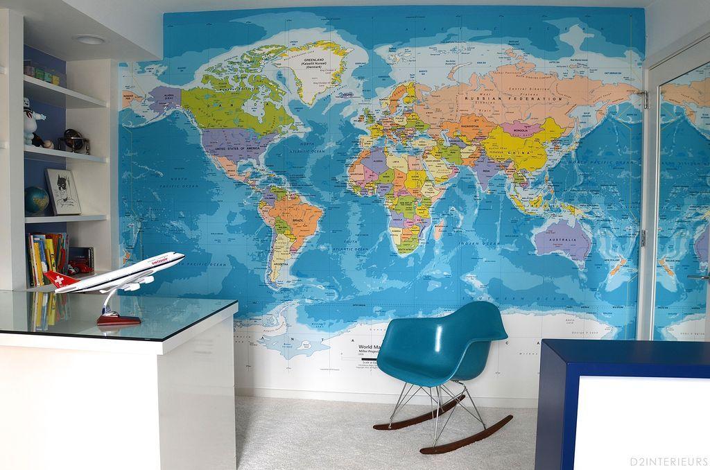 Teens kids bedroom world map wallpaper | Bodie\'s Room in 2019 | Kids ...
