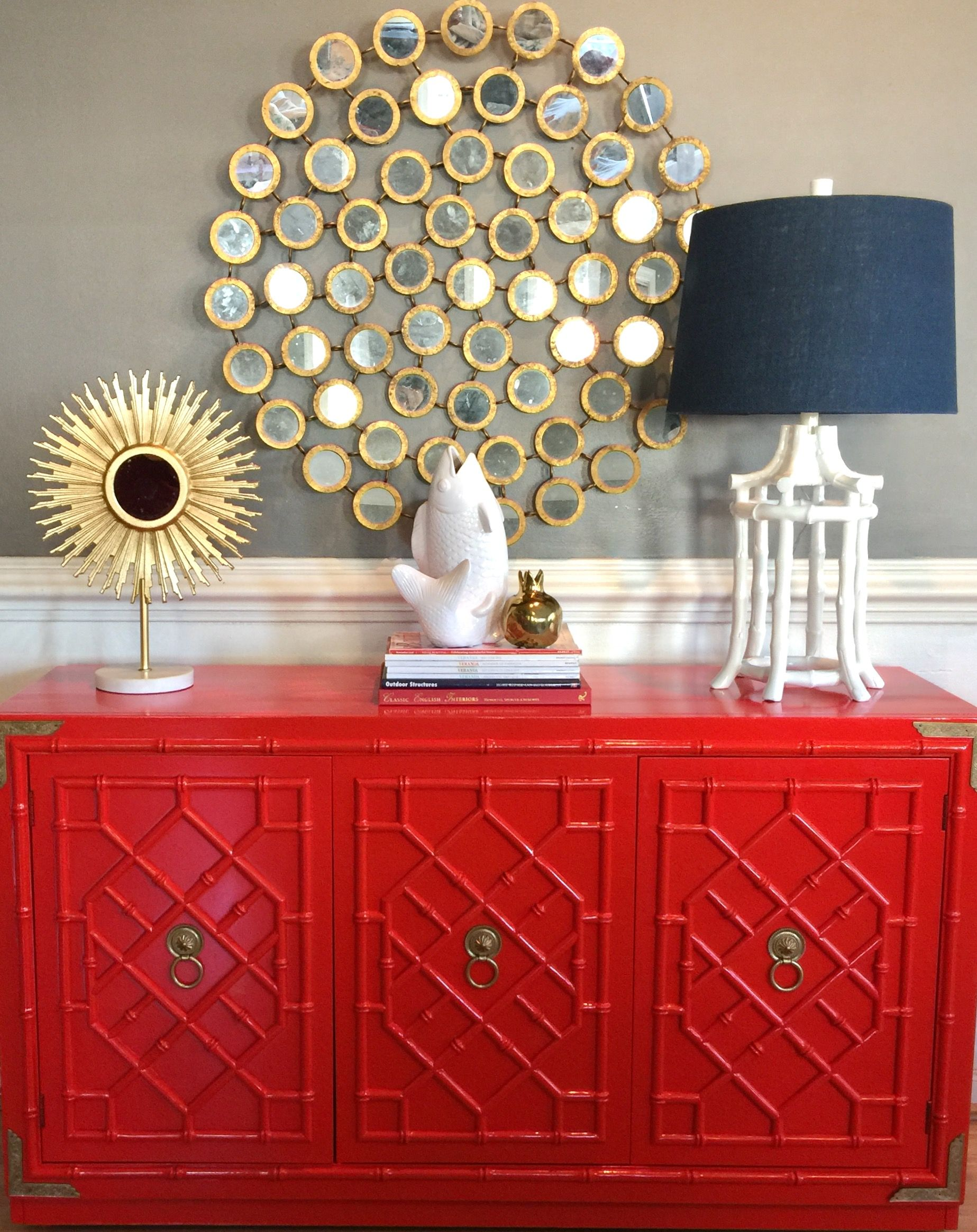 Thomasville Huntley Allegro Faux Bamboo Fretwork Buffet Server Redone In High Gloss Red Visit VintageModernEclectic