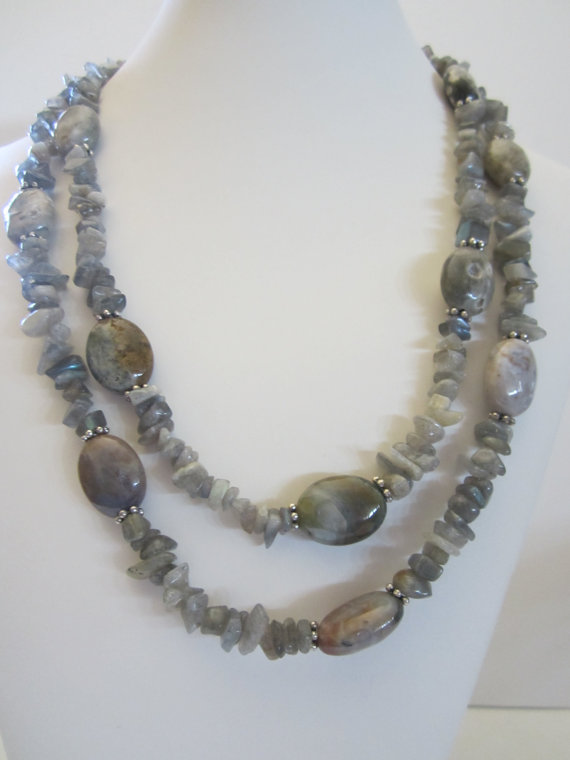 Spring Double Strand Necklace with Ocean Jasper and by yasmi65, $33.00