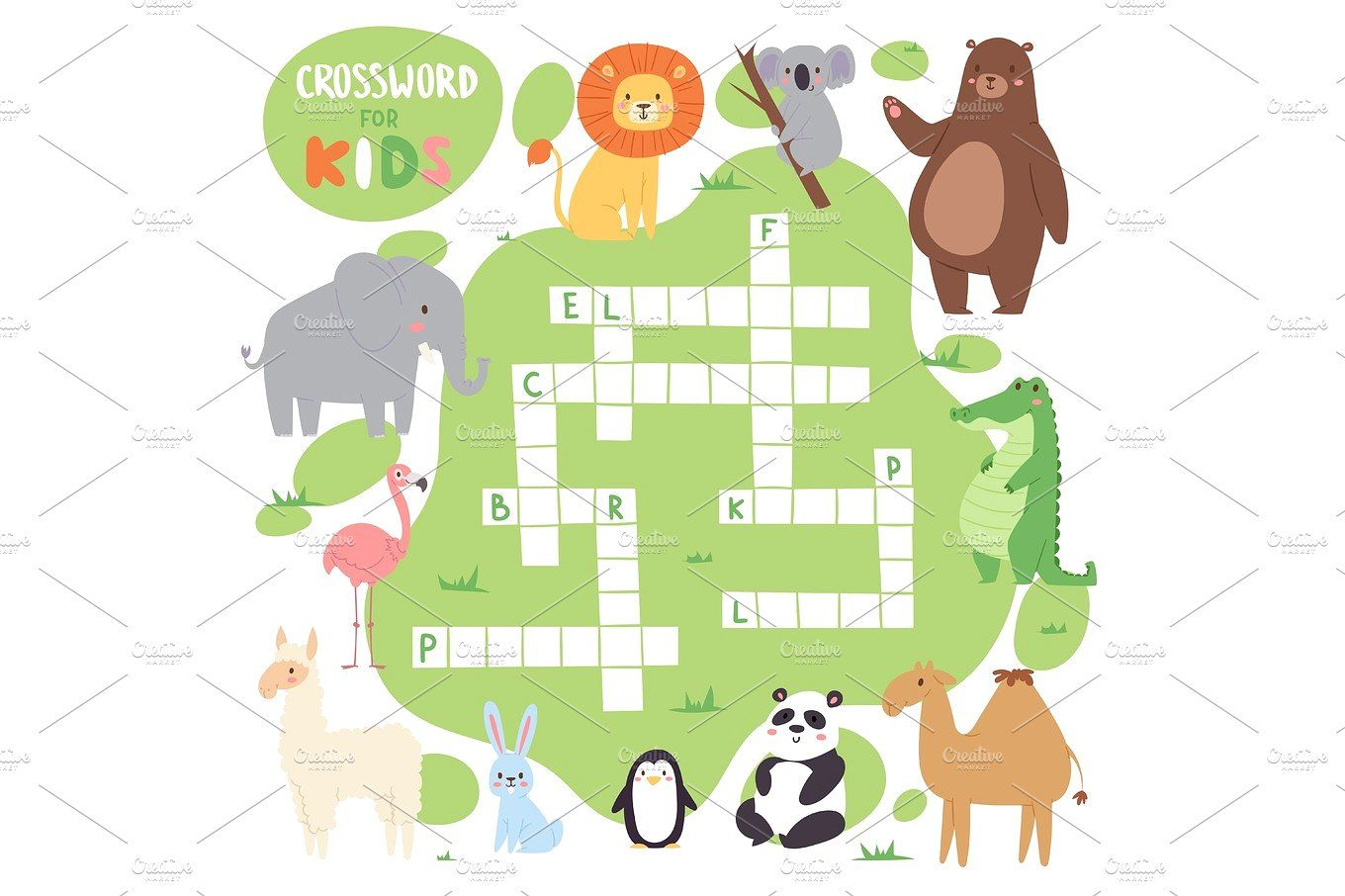 Kids Magazine Book Puzzle Game Of Forest Animals Logical
