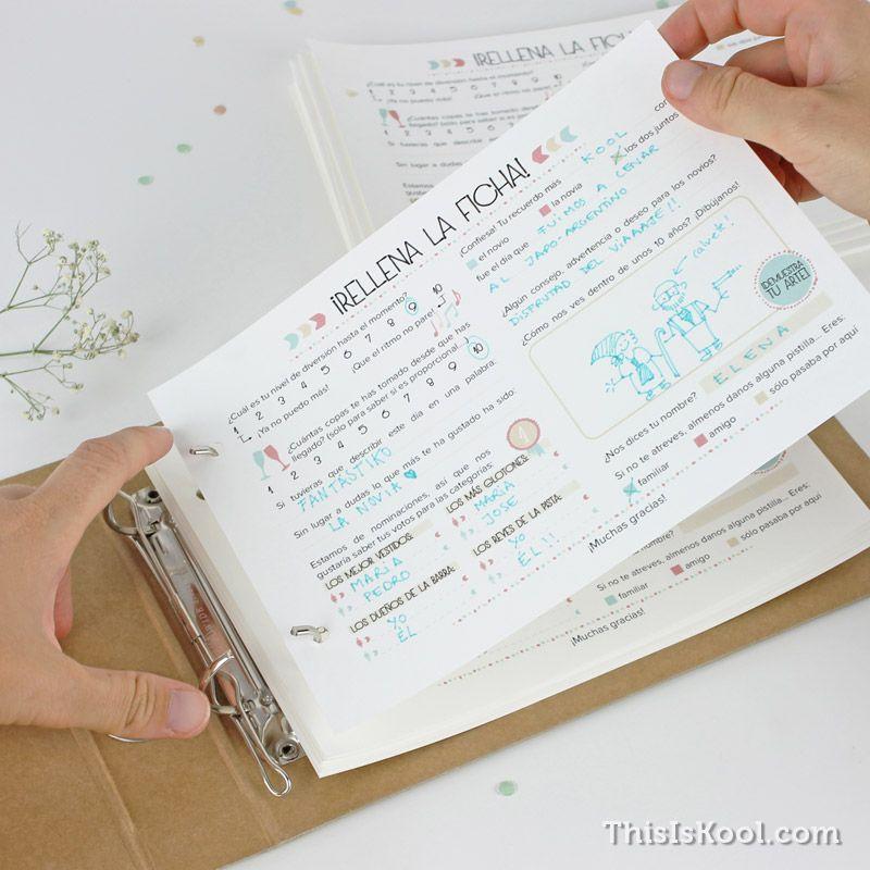 Libro de firmas - Fichas rellenables boda - COLORES | This Is Kool ...