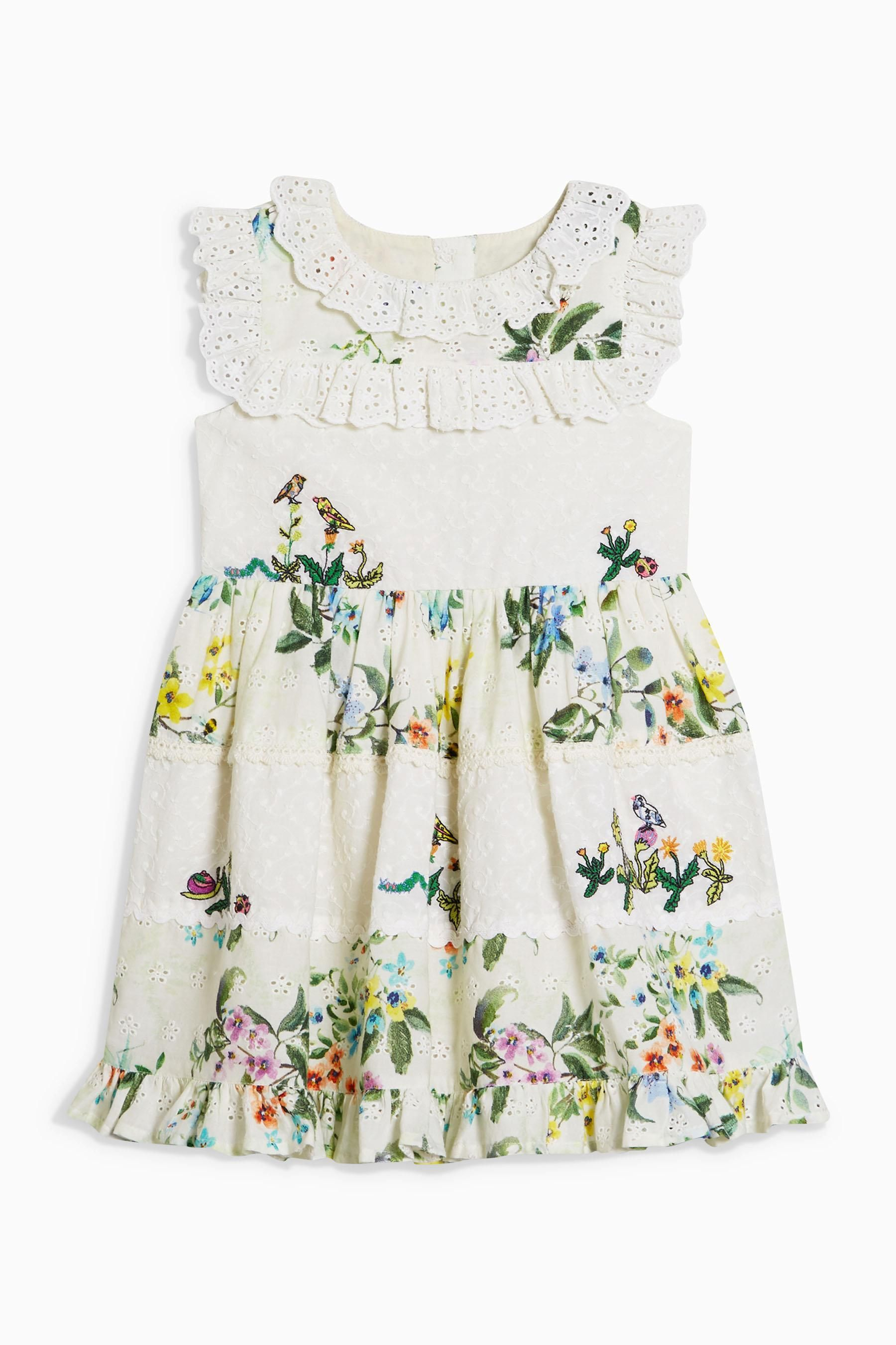 Buy white floral print broderie prom dress with embroidery mths