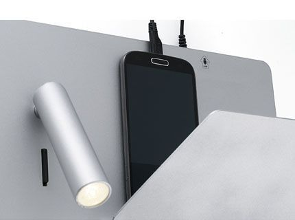 Suau usb lampe applique grise avec lecteur led droite faro