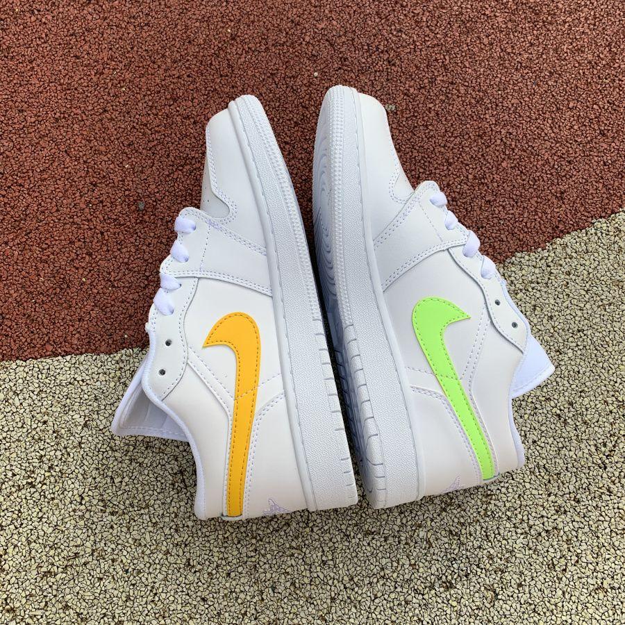 Buy Air Jordan 1 Low Gs White Neon Girls Shoes Cw7035 100 Jordan 1 Jordan 1 Low Air Jordans