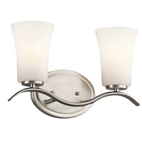 Photo of Kichler 45375NI Armida Two-light wall-mounted bath in brushed nickel – brushed, temporary | Bellacor