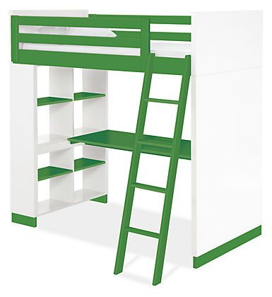 Moda Loft Beds with Desk & Bookcase Options in Colors - Bunks & Lofts - Kids - Room & Board