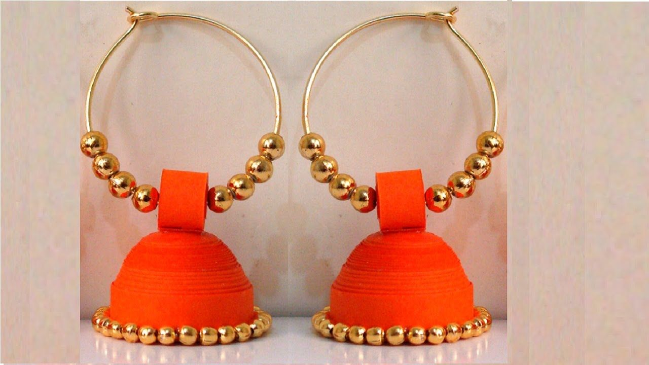 How To Make Paper Earrings Jhumka Quilling Tutorial