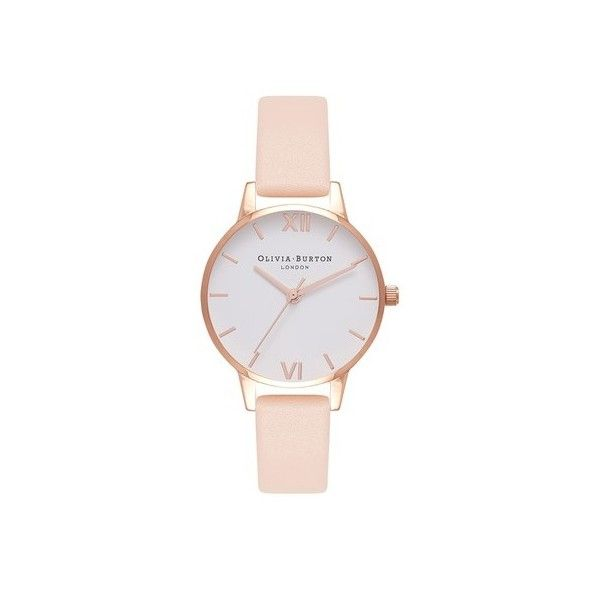 Nude Peach and Rose Gold Watch by Olivia Burton (770 SEK) ❤ liked on Polyvore featuring jewelry, watches, nude, olivia burton, nude jewelry, rose gold jewellery, olivia burton watches and rose gold watches