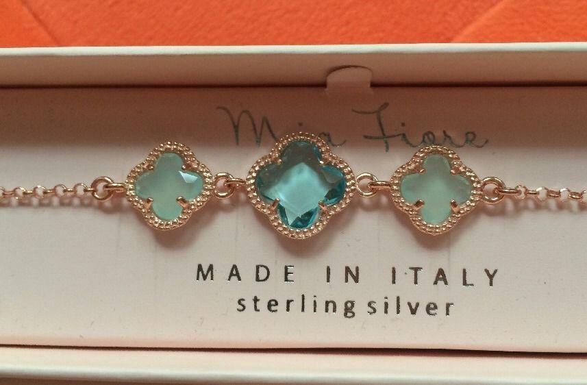 Mia Fiore Rose Gold 3 Blue Topaz Stone Bracelet NEW IN BOX Blue