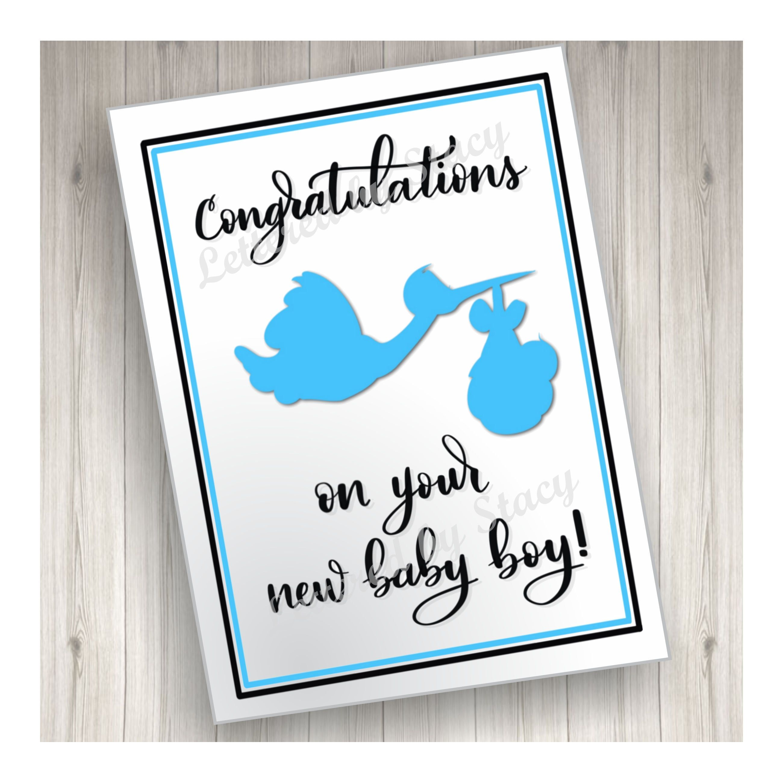 New Baby Card Congratulations On Your New Baby Boy With Blue Etsy Baby Boy Cards New Baby Cards New Baby Products