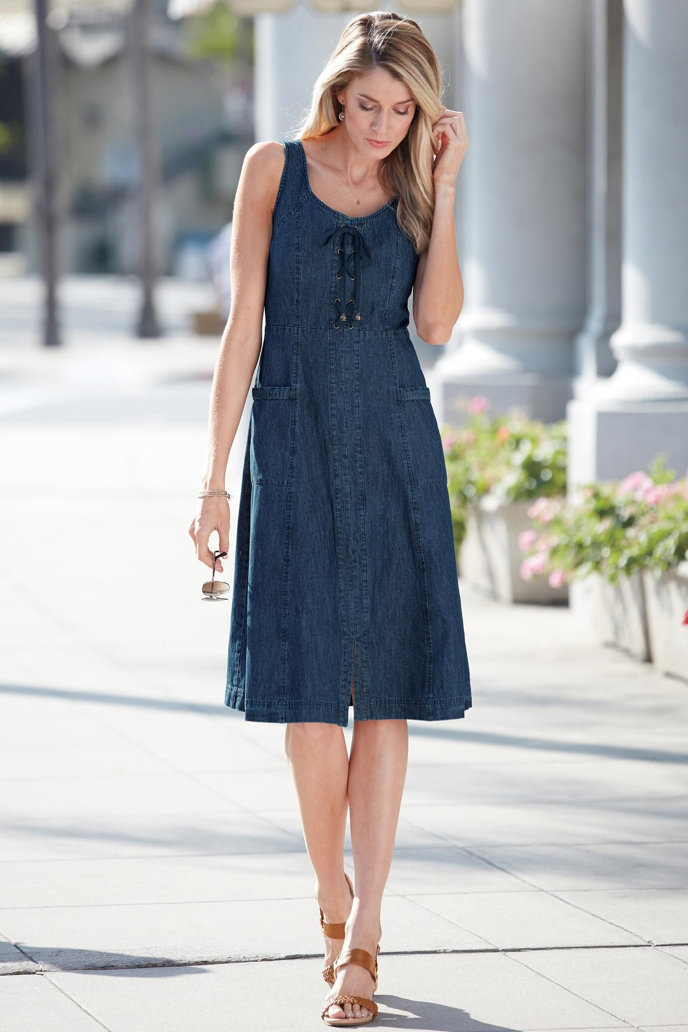 2e38259378fcb Update on a classic. Denim Sleeveless Lace-Up Dress is equal parts ...
