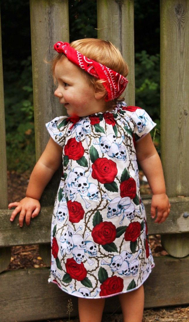 906f450fc Rockabilly Baby Dress   Skull   Roses Girls Dress