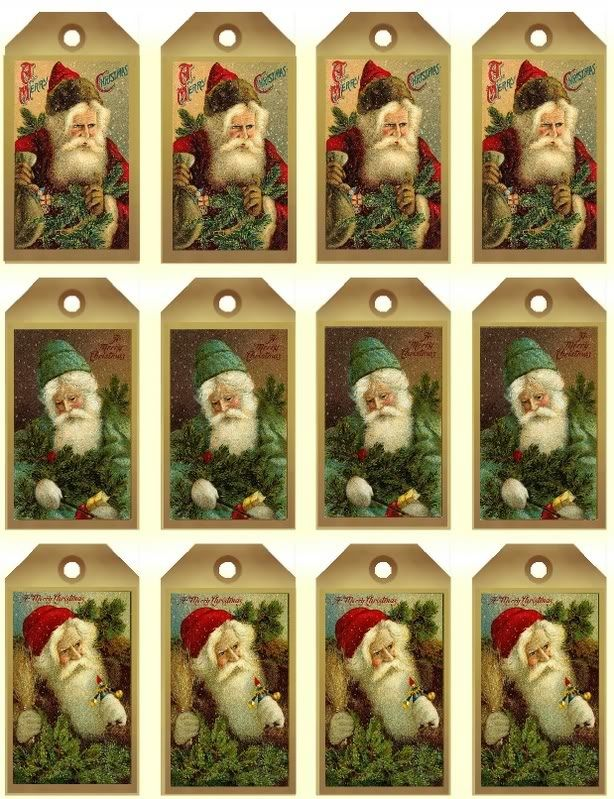Free Vintage Santa Printables Including Recipe Cards and Tags
