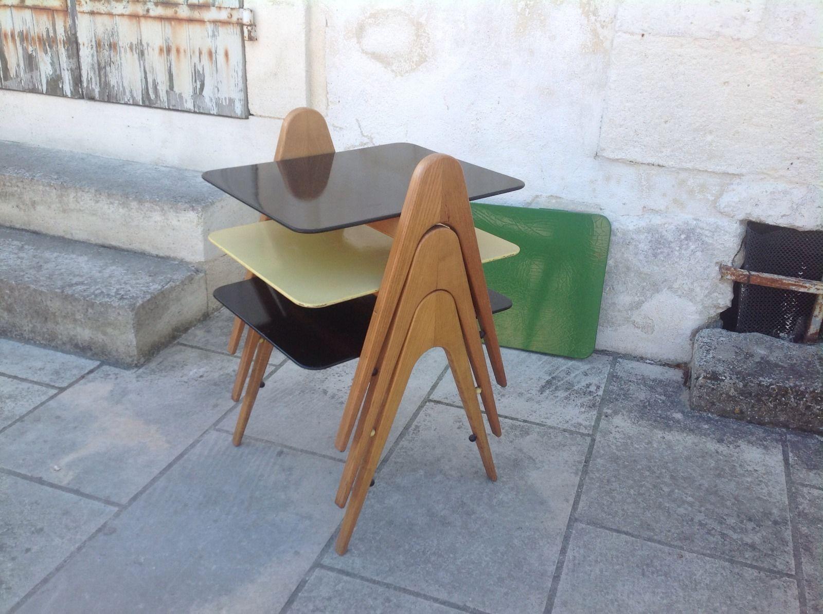 Table basse gigogne design 50 60 scandinave charlotte perriand prouv vintage ebay meubles - Salle de bain charlotte perriand ...