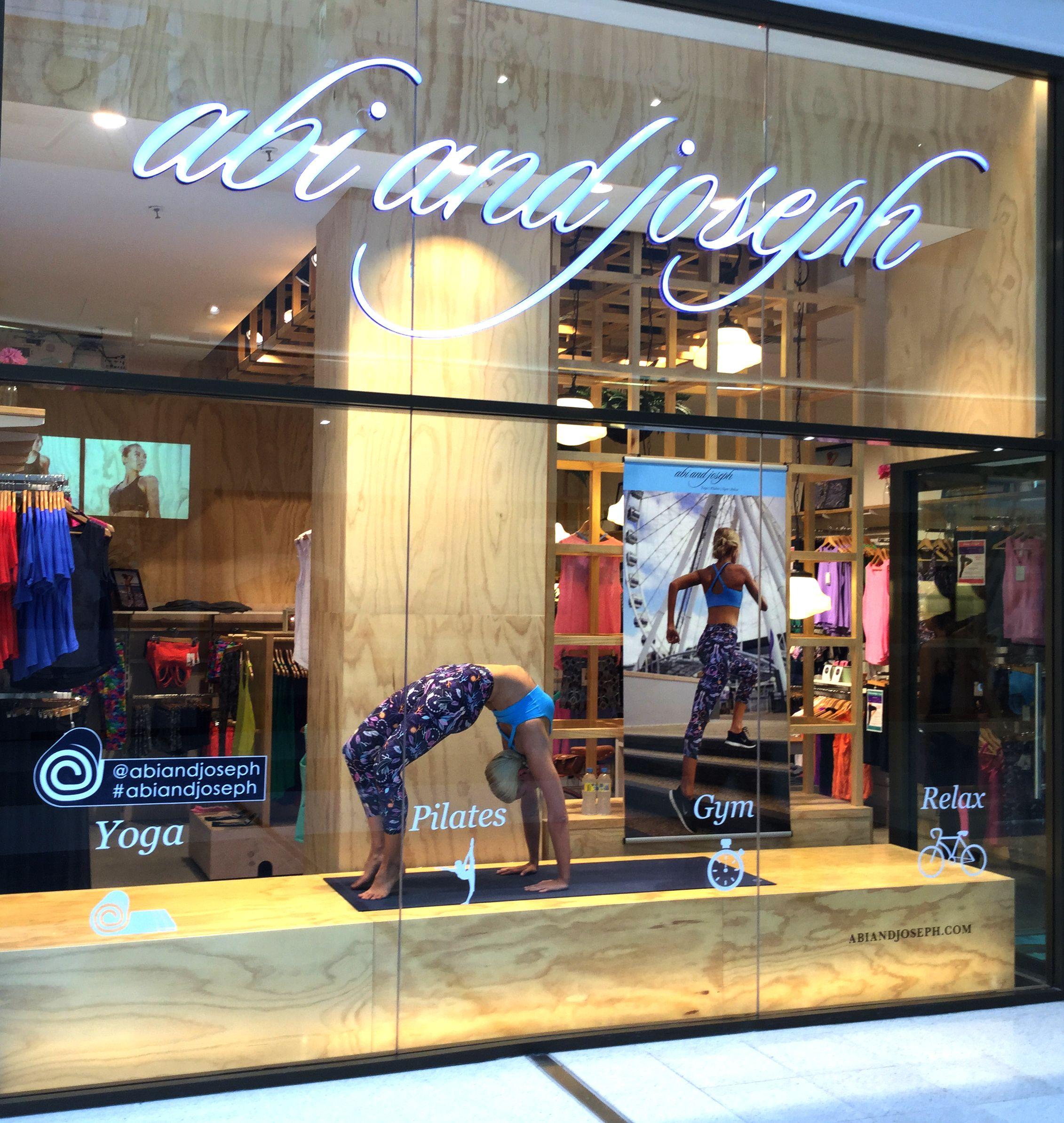 Danique demonstrating Yoga as a live mannequin in our Westfield Garden City store, Mt Gravatt, Brisbane Queenslandwww