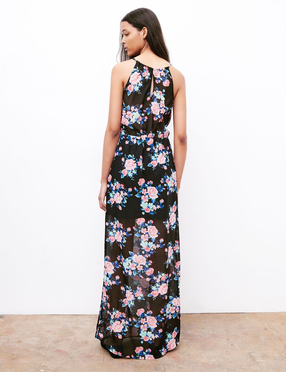 e56ed131c9b1 Robe longue fleurie noir bleu et rose - Jennyfer e-shop Soldes Vetements  Femme