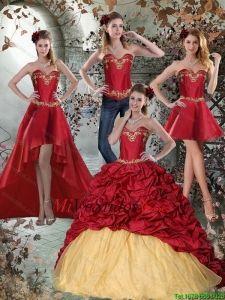 d824c309d 2015 Vino Tinto Sweetheart Vestidos de quincea era con Bordado y Pick Ups