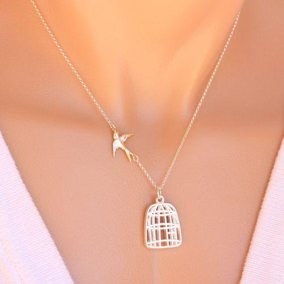 Gold Bird Cage Necklace . Be Free Bird  Divorce Going by MonyArt, $24.80