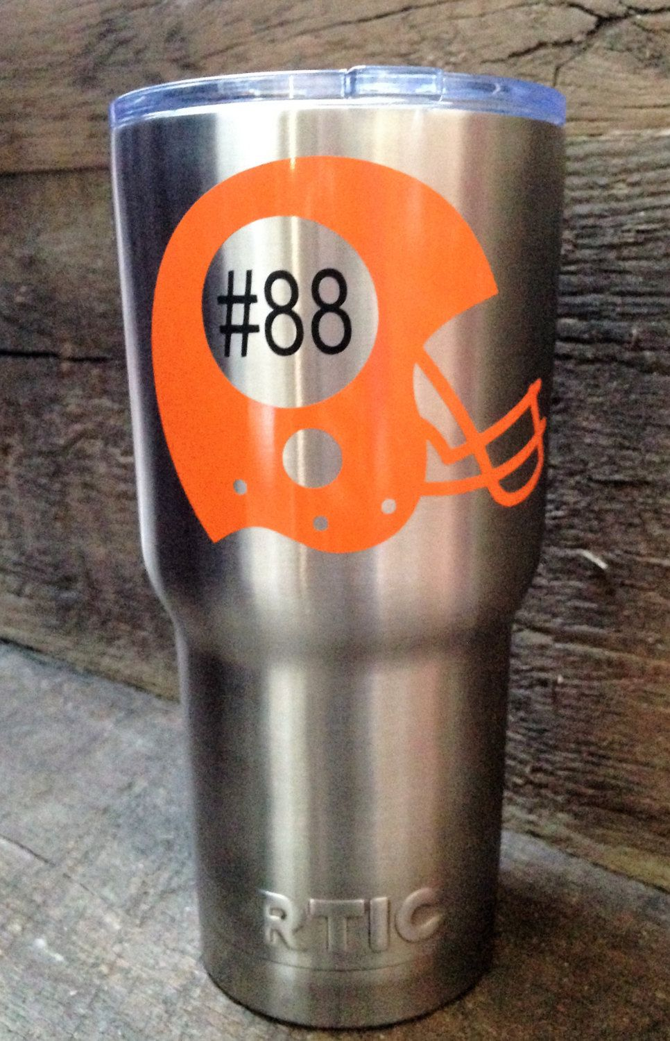 Football helmet decal only with jersey number team name