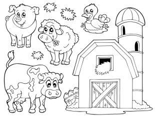 Tiere Kostenlose Malvorlage Verschiedene Tiere Auf Dem Bauernhof Zum