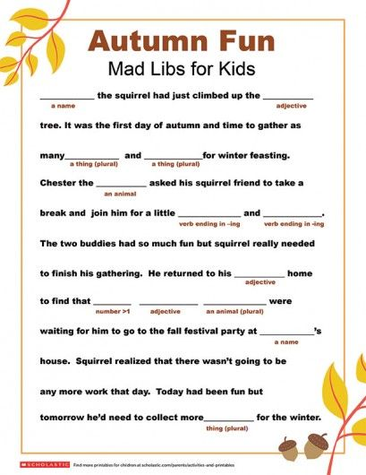 Mad Libs Printable For Fall Parents Scholastic Com With