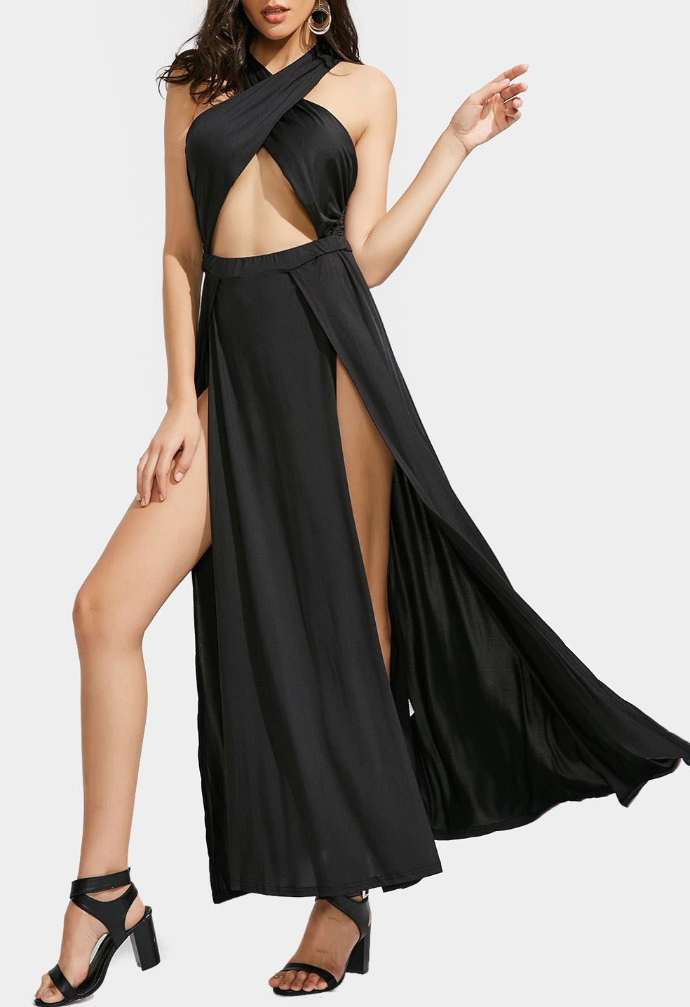 Up to off plunging neck open back tiered dress zafulmaxi