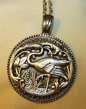 Striking Metal Beaded Openwork Flamingo in the MarshSilvertone Pendant Necklace