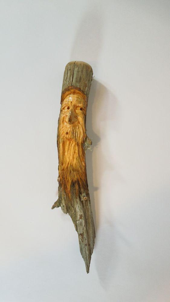 Wood Spirit Carving Face sculpture Ooak Wizard By Scott Longpre