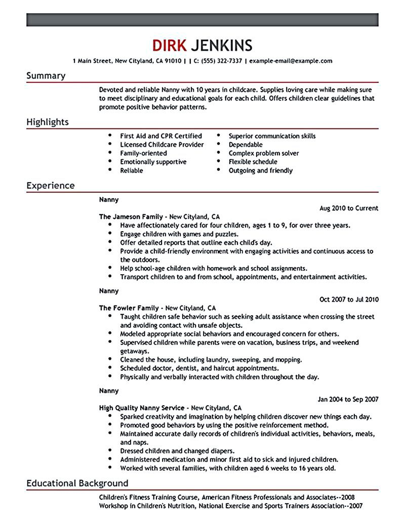 All Things You Should Know About Nanny Resume Babysitter Resume