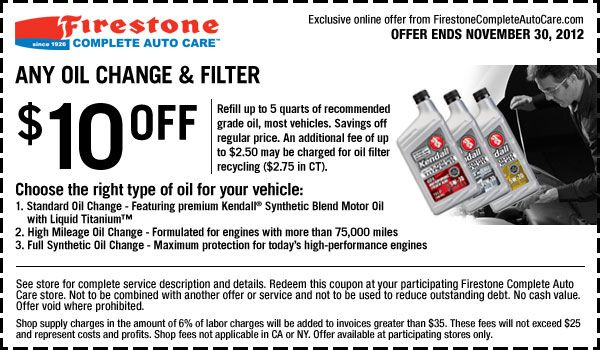 10 Off Any Oil Change Filter In Store Printable Firestone
