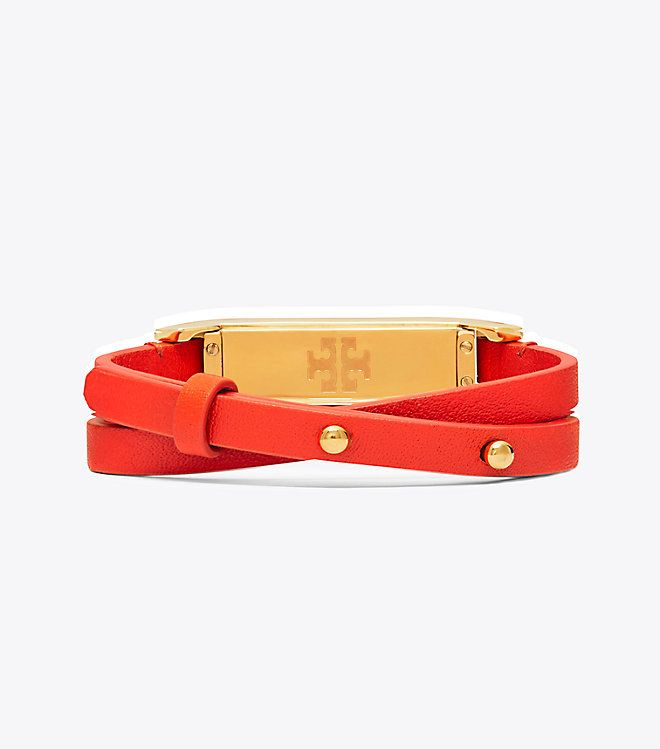 f6bd99fb2660 Tory Burch Tory Burch For Fitbit Double-wrap Bracelet   Color  Samba Tory  Gold Tory Burch s iconic fretwork patterns this comfortable leather wrap  bracelet ...