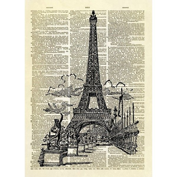 Eiffel tower paris dictionary art print (22) liked on