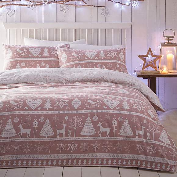 Portfolio Home Scandinavian Christmas 100 Brushed Cotton Pink Duvet Cover And Pillowcase Set Dunelm Christmas Duvet Pink Duvet Cover Duvet Sets
