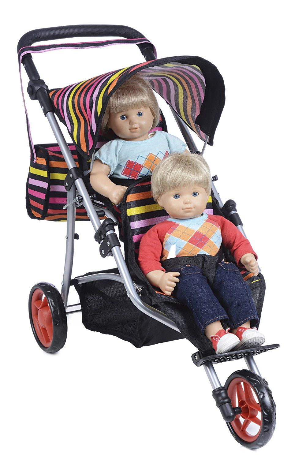 Twin Jogger DOLL Stroller with Diaper Bag