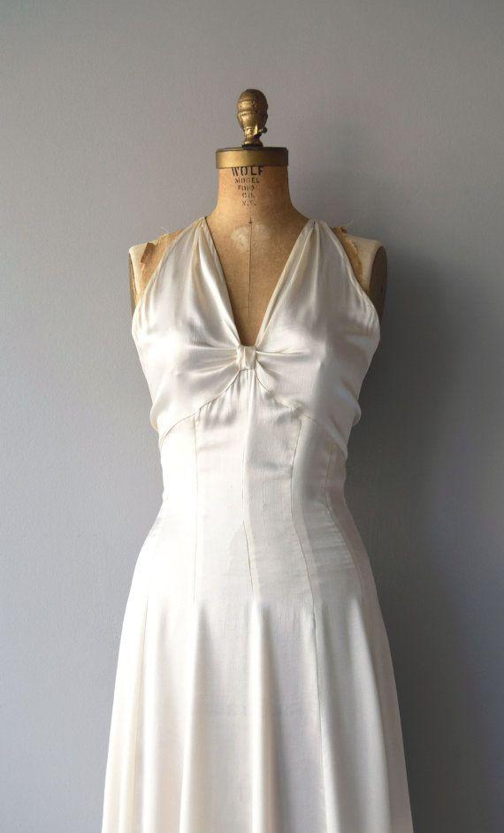 Ardennes silk wedding gown | vintage 1930s wedding dress | silk 30s ...