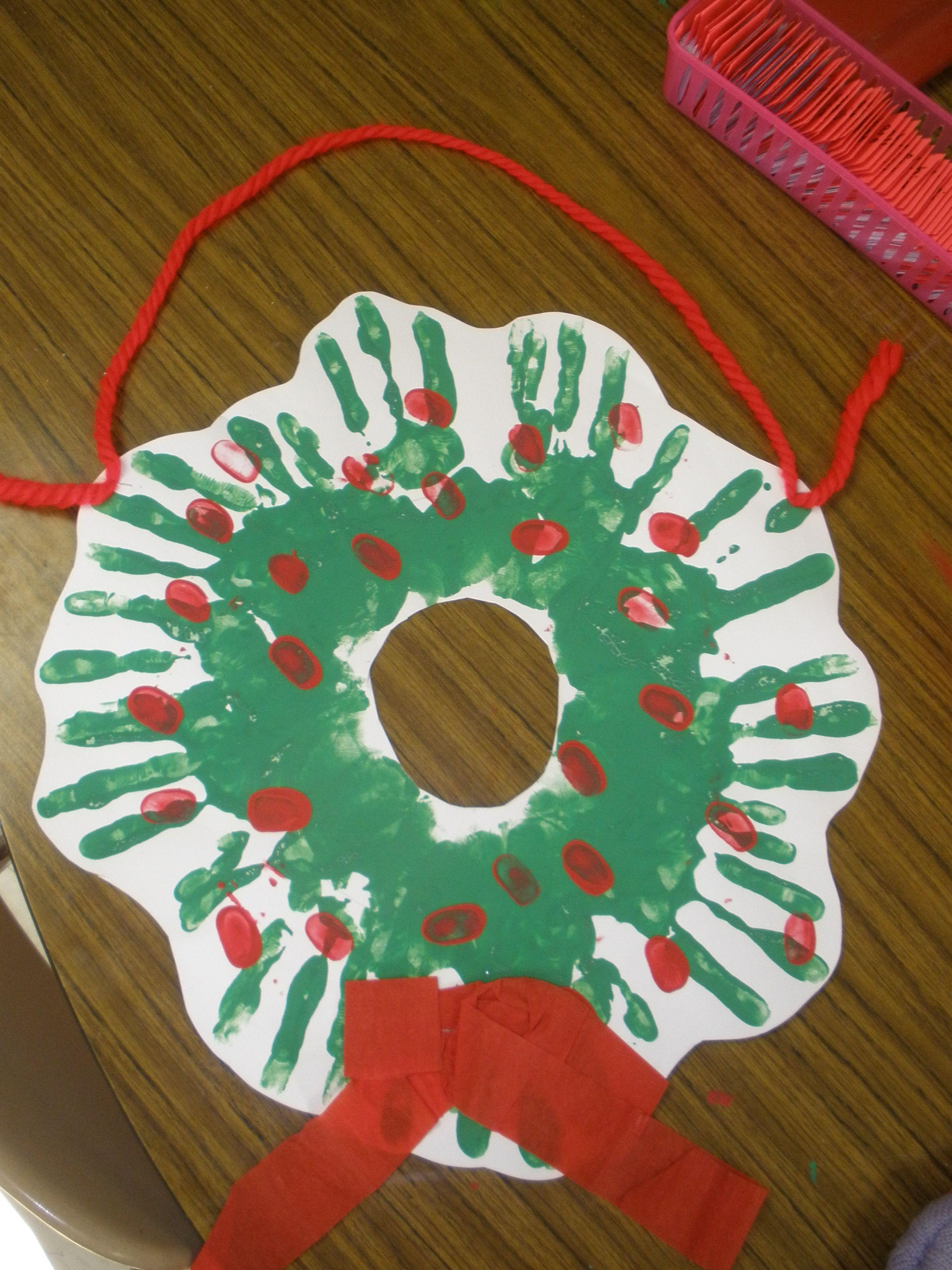 Christmas Ideas Hand Print Wreath For Our Door
