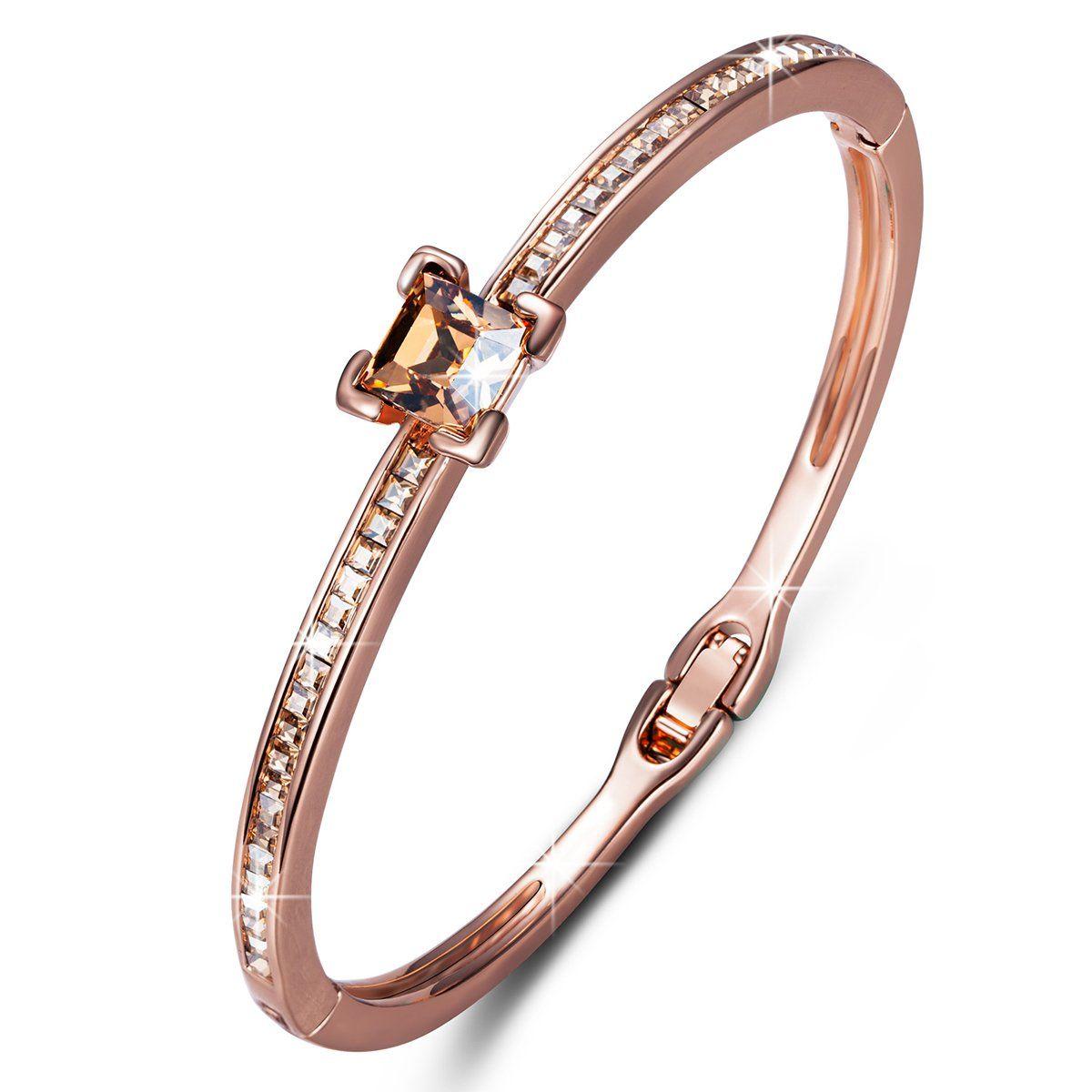 Qianse elegant rose gold plated bangle bracelets with austrian