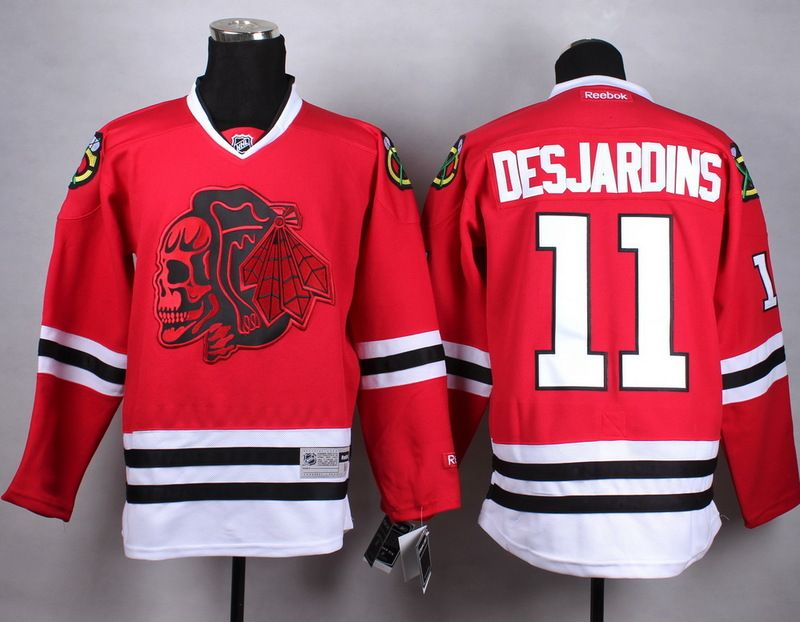 e4f77d0246f NHL Chicago Blackhawks #11 Desjardins red Skull Jersey | places to ...