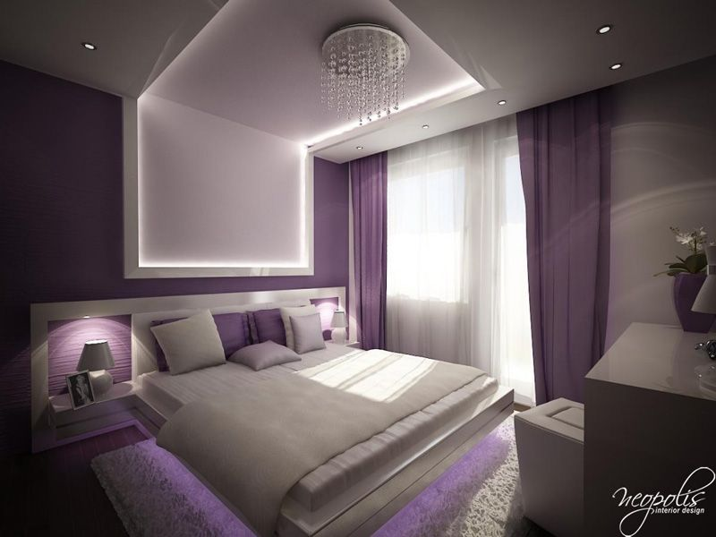 Stylish And Modern Purple Bedroom With Unique Light Listed In Amazing Color Scheme For Bedroom Interior Design Ideas
